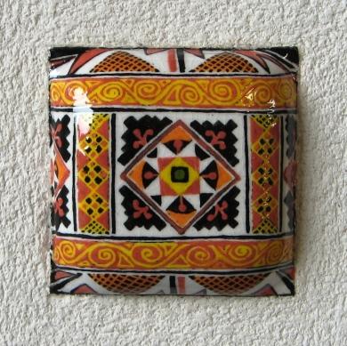 Pysanka design on clay