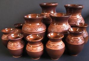 Luda K. Village pots wax resist-lots